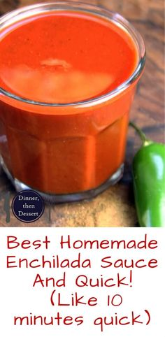 Ditch the can, feel like you're at your favorite Mexican restaurant in ten minutes! Homemade Enchilada sauce that is so good you'll top it on everything, even your eggs! Try swapping onion powder for dried minced onion. Sauce Enchilada, Recipes With Enchilada Sauce, Homemade Enchilada Sauce, Homemade Enchiladas, Homemade Sauce, Sauce Recipes, My Recipes, Cooking Recipes, Favorite Recipes