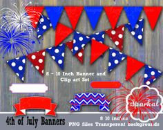 4th of July Clipart Fourth of July Banners by SparkalDigitalDesign, $4.85 #4thOfJuly
