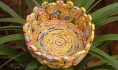 Paper Knick Knack Dish - Made from paper reeds that are rolled into coils.