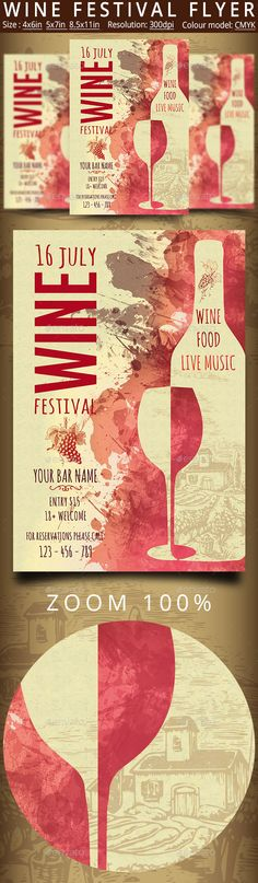 Wine Festival #Flyer #Vintage - Events Flyers Download here: https://graphicriver.net/item/wine-festival-flyer-vintage/20308936?ref=alena994
