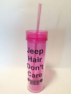 Jeep Hair Don't Care Tumbler with Straw 16 oz by MelissasHomeDecor