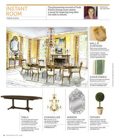 Instant Room from House Beautiful Magazine Chair Fabric, Beautiful Homes, House Beautiful, Topiary, Design Reference, Chandelier, Indoor, Curtains, Dining