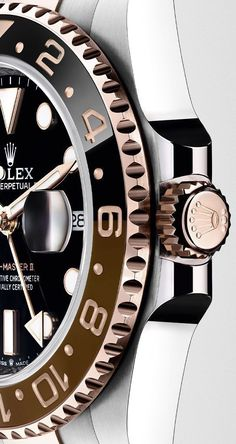 Rolex Watches Collection : Illustration Description The bezel of the new Rolex GMT-Master II in Everose Rolesor is fitted with a two-colour Cerachrom insert in a black and newly developed brown ceramic. Breitling Watches, Rolex Watches For Men, Luxury Watches For Men, Sport Watches, Men's Watches, Amazing Watches, Beautiful Watches, Cool Watches, Dream Watches