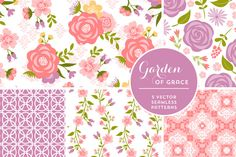Vector Garden of Grace Backgrounds by Cocoa Mint on Creative Market