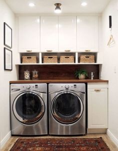 """Ideas to Steal from 10 Stylish and Functional Small Laundry Rooms Awesome """"laundry room storage diy cabinets"""" info is readily available on our web pages. Check i Small Laundry Rooms, Laundry Room Organization, Laundry Room Design, Compact Laundry, Organized Laundry Rooms, Laundry Room Shelving, Laundry Room Layouts, Laundry Decor, Small Bathrooms"""