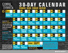 Core De Force Calendar, Core De Force Workout Schedule