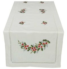 Xia Home Fashions Holly Berry Embroidered Hemstitch Holiday Table Runner, 16-Inch by 36-Inch by Xia Home Fashions. $21.00. Hemstitch holiday linens featuring embroidered holly leaves and berries. Hemstitch holiday linens featuring embroidered holly leaves and berries!. Handrendered cutwork with hemstitch. Machine Washable Made with easy care poliviscose. Machine Washable! Made with easy care poliviscose.. Handrendered cutwork with hemstitch.. Quality hemstitch a...