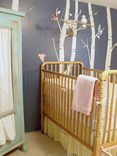 Baby Girl's Navy Blue Bird and Tree Themed Antique Nursery Room   Baby Lifestyles