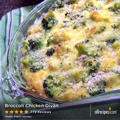 "Broccoli Chicken Divan | ""This is so good and an easy way to use leftover chicken. My one year old loves it. I think it's good as written, but I usually add lemon pepper and garlic powder."""