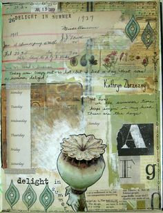 Delight in Summer, journal page by Kathryn Zbrzezny. For Summer of Color 2013, sage  sepia color combination.