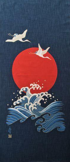 Japanese noren fabric panel indigo blue by japanmomijidesigns