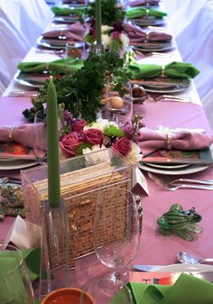 """orchid & lime"" passover table setting"