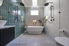 The Block 2020: Master Ensuite Reveals White Bathroom Tiles, Modern Bathroom, Bathroom Renos, Design Bathroom, Bathroom Ideas, Ensuite Room, Fish Scale Tile, Black Bath, Pink Tiles