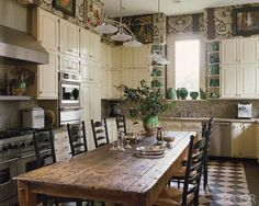 Large rustic kitchen table for family dinners and of course baking during the holidays.