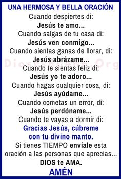 Good Prayers, Beautiful Prayers, Catholic Prayers In Spanish, Bible Topics, Gods Love Quotes, Personal Prayer, Miracle Prayer, Bible Promises, Spiritual Messages