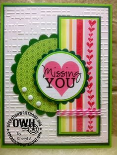hanmdade card ... Operation Write Home Sketch 206 ...watermelon colors of green and pinks ... patterned papers and embossing folder texture interest on the background panel ... like it!