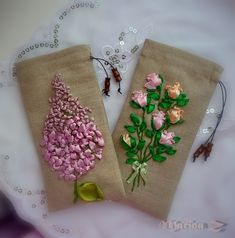 ribbon embroidery flower sachets