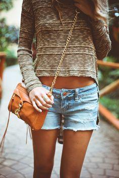 sweater and cutoffs
