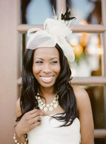 Wedding Accessories - a gorgeous wedding fascinator paired with statement collar necklace.