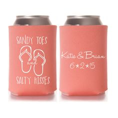 Personalized Sandy Toes and Salty Kisses Beach Wedding Favors, Wedding Can Coolers, Custom Bridal Beverage Insulators, Beer Huggers