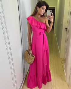 Trendy and pretty off the shoulder ruffled maxi dress. A Line Prom Dresses, Cheap Prom Dresses, Formal Evening Dresses, Cute Dresses, Beautiful Dresses, Summer Dresses, Maxi Dresses, Awesome Dresses, Long Party Gowns