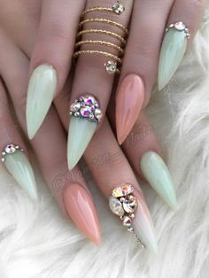 two tone pastel green rhinestone nails