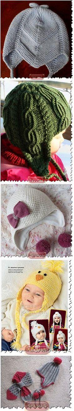 Шапочки вязаные с ушками детские,подборка . Knitting For Kids, Baby Knitting, Crochet Baby, Kids Hats, Baby Knits, Knots, Scarves, Gloves, Tricot