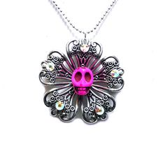 Neon Pink Sugar Skull Day of the Dead Filigree Flower Pendant Necklace by Diamonds and Coal
