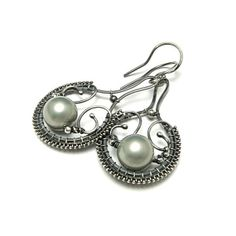 Silver wire wrapped earrings seashell pearl by MadeBySunflower, $70.00