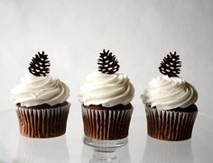 12 Pinecone Cupcake Toppers Acrylic by ThroughThickandThin on Etsy, $15.00 dessert bar ideas