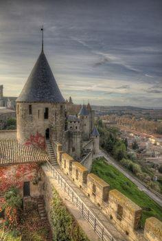Castle Ramparts, Carcassonne, France  photo via crystal