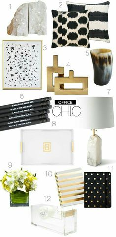 Love everything about this office inspiration board! Black and white and gold – office chic :… – Chic Home Office Design
