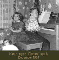 Karen con 4 años y Richard Carpenter de en 1954 (The Carpenters) Richard Carpenter, Karen Carpenter, Karen Richards, Little Acorns, Angels In Heaven, We Are Young, Vintage Music, Music Is Life, Cool Bands
