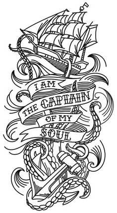 "The last line of William Ernest Henley's poem ""Invictus"" takes on a life of its own in this nautical tattoo sleeve design. Downloads as a PDF. Use pattern transfer paper to trace design for hand-stitching."