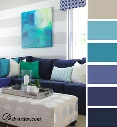 Paint colors for living rooms (blue, sea-green, grey)