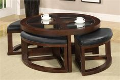 Furniture of America Gracie Dark Walnut Coffee Table and Ottoman Set - Overstock™ Shopping - Great Deals on Furniture of America Coffee, Sofa & End Tables Living Room Decor Furniture, Home Living Room, Home Furniture, Furniture Design, Furniture Online, Furniture Outlet, Cheap Furniture, Brown Furniture, Furniture Showroom