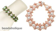 http://www.beadaholique.com/yt - This video tutorial shows you how to bead weave the Water Lily Bracelet. The design features 2-hole piggy beads mixed with s...