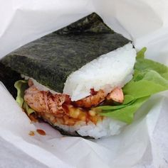 Sushi-burger #sushi #burger #creative #idea #yummy #fish #salmon #cooking #kitchen #restaurant