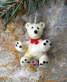 Polar Bear Teddy Bear Handmade Lampwork Glass Bead Christmas Tree Unique Ornament by DarleneStorgeoff on Etsy