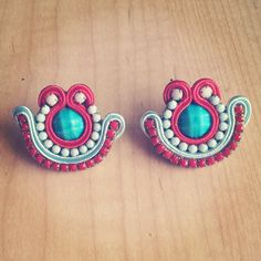Original Soutache Earrings, Shell Design Custom made by Little Venice Designs / Great Price. Hypoallergenic