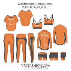 Women Running Tops And Leggings- Women Running Tops And Leggings This Fashion Flat Vector Template is design for Sport Enthusiasts especially, the who have made Running, their Aim of life. It has various Full editable Vector Clothing Templates - Fashion Design Drawings, Fashion Sketches, Clothing Templates, Design Textile, Fashion Over 40, Fashion Top, Petite Fashion, Boho Fashion, Textiles