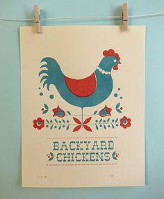 Backyard Chickens in Red Print $15 on Etsy