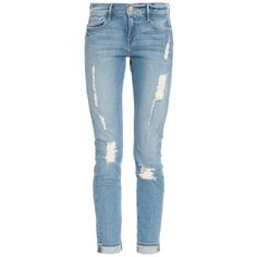 See this and similar Frame jeans - SIZE FIT. Frame Denim Le Garcon Destroy Jean. Traditional five pocket style. Distressed and faded detail. Top button with con...