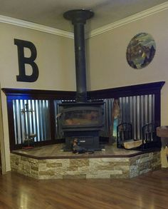Wood Stove Surround, Wood Stove Hearth, Wood Burner, Wood Burning Stove Corner, My Living Room, My Dream Home, Home Projects, Home Remodeling, Decoration