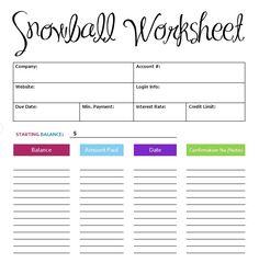 debt snowball free printable worksheet, free printable debt ...