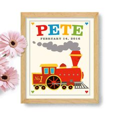Toy Train Art for Boys Room Personalized Childrens Art by DexMex