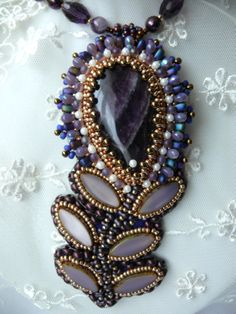 Bead embroidered necklace pendant AMETHYST FLOWER by MaewaDesign, €68.00