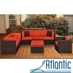 @Overstock.com - Naples 7-piece Patio Furniture Set - Give your patio a sleek, modern look with this outdoor furniture set. The dark brown wicker furniture is shaped like a contemporary sectional sofa. The set includes four corner pieces, one middle piece, one table, and coordinating cushions.  http://www.overstock.com/Home-Garden/Naples-7-piece-Patio-Furniture-Set/3476840/product.html?CID=214117 $2,159.99