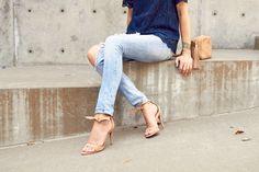 Fashion Jackson   Denim ripped-skinny jeans, Steve Madden Bowwtye high heel sandals