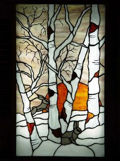 Birches in stained glass